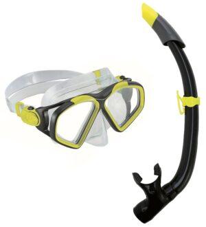 Aqua Lung Snorkelsæt - Combo Hawkeye/Pike Adult - Koksgrå/Gul